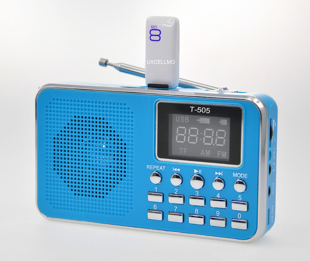 Original Hi-Rice SD-111 FM Radio Clock USB TF Music Player Digital Speaker Blue