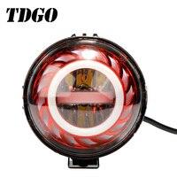 TDGO LED Motorcycle Headlights Round Devil Angel Eyes 12V 40w Led High Low Beam Motorcycle Motorbike Motor Head Light 2019 8000K