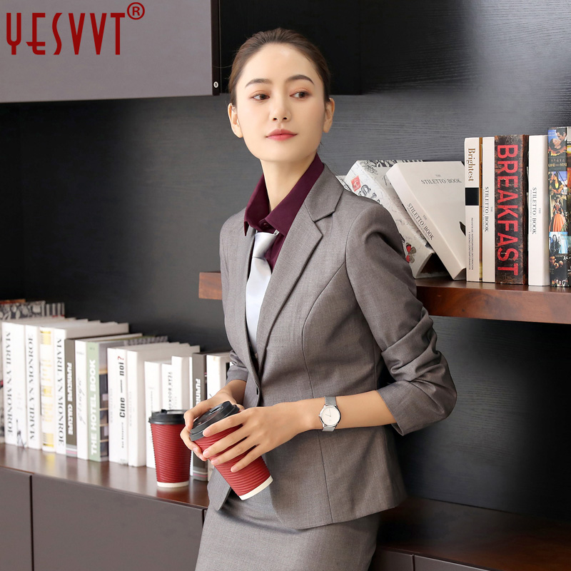 2017 Womens business suits office uniform designs female elegant office lady skirt suits two pieces gray skirt blazer 3XL 4XL