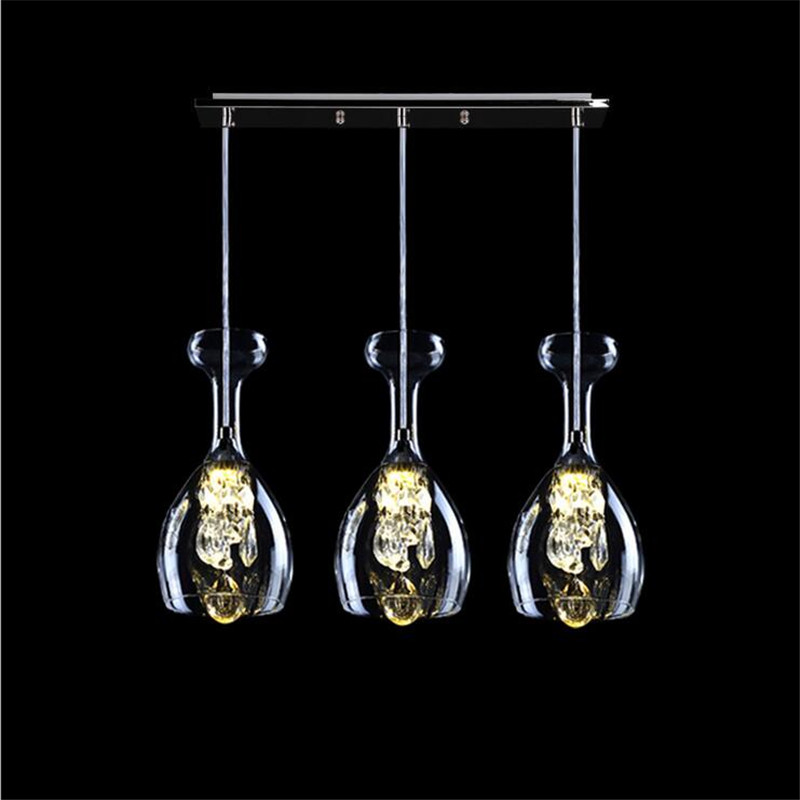 Luxurious Modern Fashion K9 Crystal Glass Globlet Led Pendant Light for Dining Room Bar Restaurant 1/3 heads AC 80-265V 1359 modern fashion luxurious rectangle k9 crystal led e14 e12 6 heads pendant light for living room dining room bar deco 2239