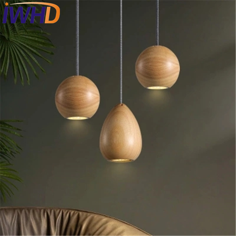 IWHD Simple Spherical Wood Droplight Modern LED Pendant Light Fixtures For Dining Room Bar Hanging Lamp Indoor Lighting туника liu jo f64127j7240 р s int