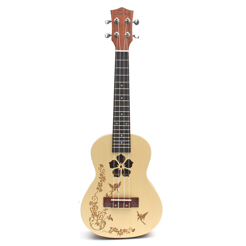 Zebra 23'' 4 Strings Flower Concert Ukulele Uke 18 Fret Hawaii Rosewood Guitarra Guitar For Musical Instruments Lovers Beginner niko black 21 23 26 ukulele bag silver edge nylon soprano concert tenor soft case gig bag 5mm thick sponge