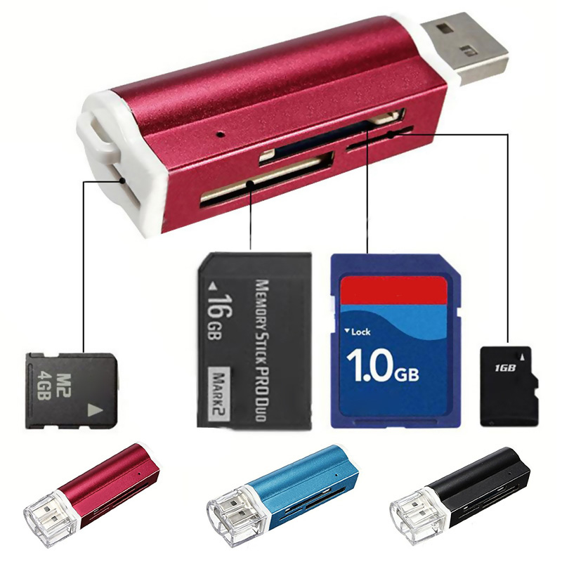 Multi-colored USB2.0 Memory Card Reader For Micro SD MMC SDHC TF Card JLRL88