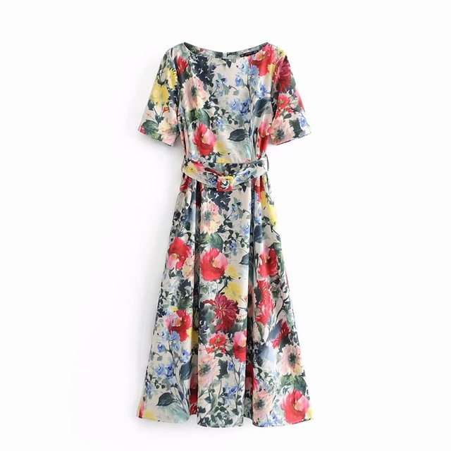 Women Floral Vestidos Print Sashes Midi Dress Chic Short Sleeve Streetwear Casual Slim Dresses Ds1993