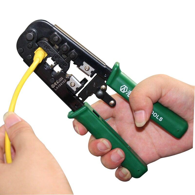 Tools : LAOA rachet crimping pliers 4 6 8P Portable LAN Network Tool Kit Utp Cable Tester Plier Crimper Plug clamp PC HandTool