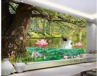 3d תמונת טפט מותאם אישית מותאם אישית 3d טפט 3d ציור קיר רקע טפט עץ אגם גן אור