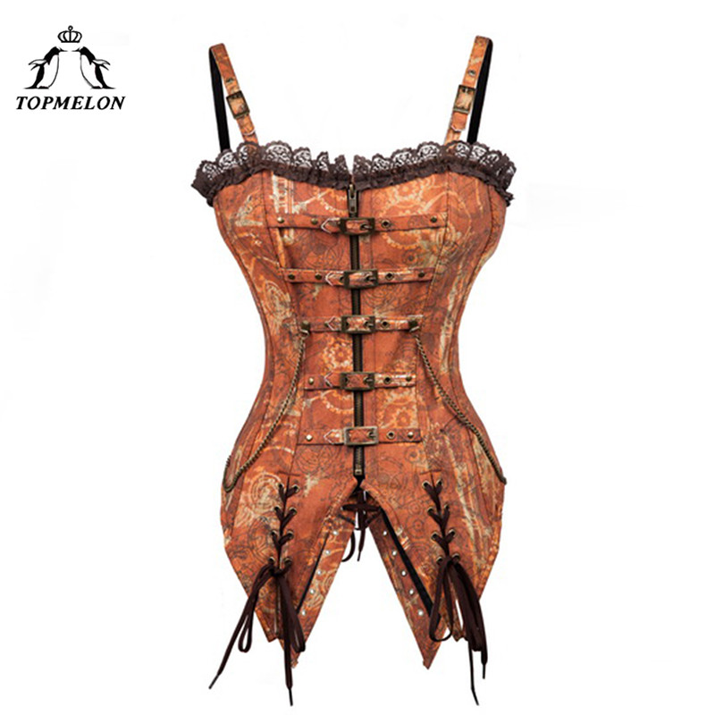 TOPMELON Retro   Bustier   Steampunk Tan   Corset   Women Gothic   Corsets   and   Bustiers   with Strap Corselet Buckle Gears Pattern Long Tops