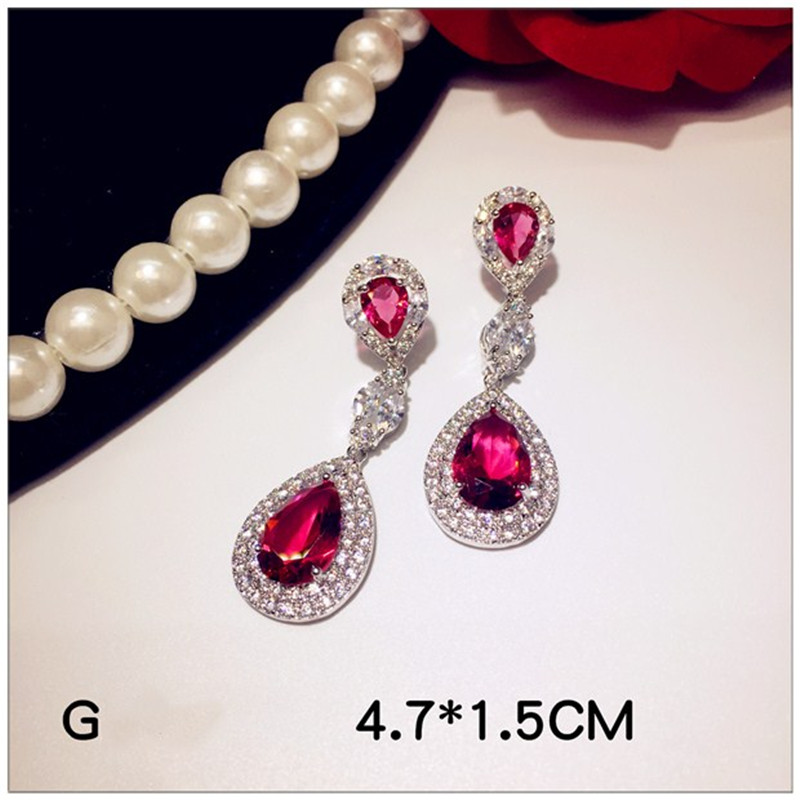 S925 Vintage Drop Earrings For Women Sterling Silver Ruby Red Cubic Zirconia Stone Temperament Luxury Fine Jewelry Top Quality