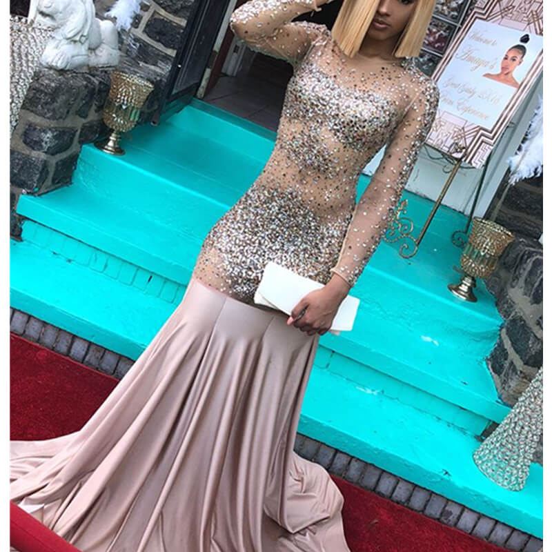 Vestidos De Gala Sexy Beaded Crystal Illusion Mermaid Long   Prom     Dress   2019 Sheer Long Sleeve Backless Draped Formal Party Gowns
