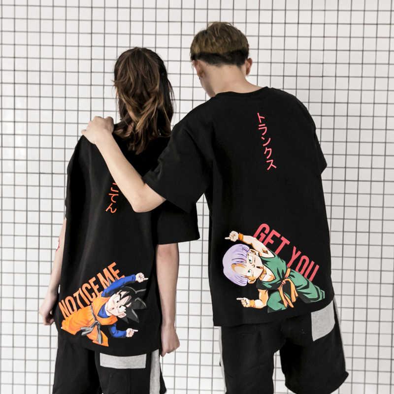 Новая мужская забавная Футболка с принтом, модная короткая черная белая футболка с драконом и мячом Гоку, Мужская хлопковая футболка с круглым вырезом, Повседневная футболка, креативная