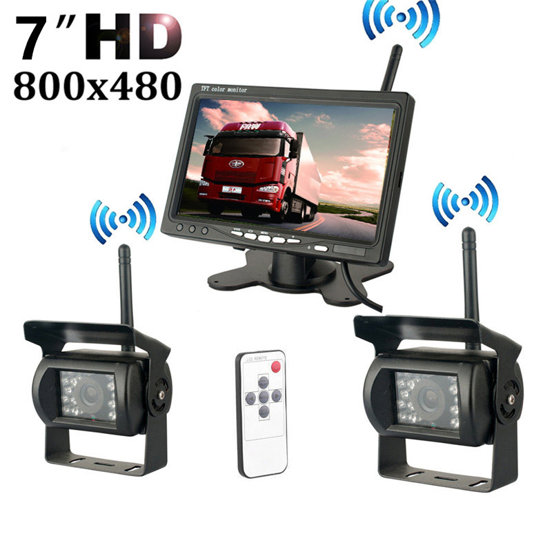 Wireless Dual Backup Cameras Parking Assistance Night Vision Waterproof Rearview Camera With 7 Monitor for 24V
