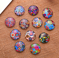 24X  16mm Coloured drawing or pattern Round  Handmade Photo Glass Cabochons & Glass Dome Cover Pendant Cameo Settings