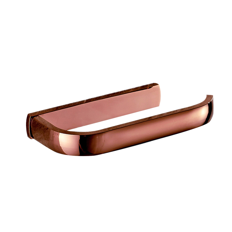 Rose Gold Solid Brass Toilet Paper Holder Luxury Simple Polished Wall Mounted Tissue Box Roll Holder Bathroom Accessories