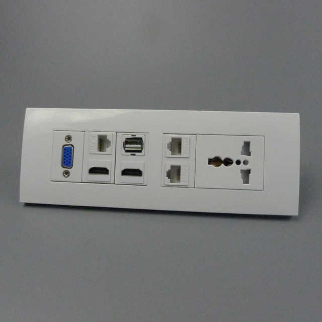 buy 118 wall plate with universal power socket vga two ports hdmi three. Black Bedroom Furniture Sets. Home Design Ideas