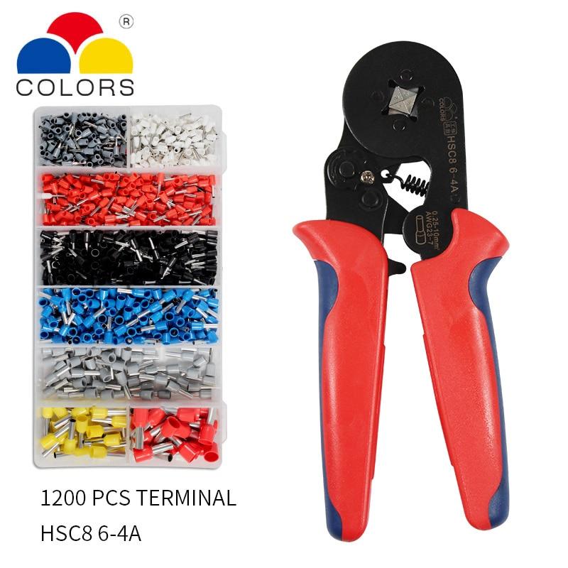 HSC8 6-4 Terminal Crimping Pliers Wire Stripper Crimper Ferrule Crimping Tool Pliers Set+ 1200 Terminals Kit