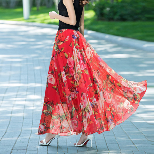 TingYiLi 12 Color Long Skirt Summer Floral Print Beach Boho Skirt Elegant Maxi Women Skirt