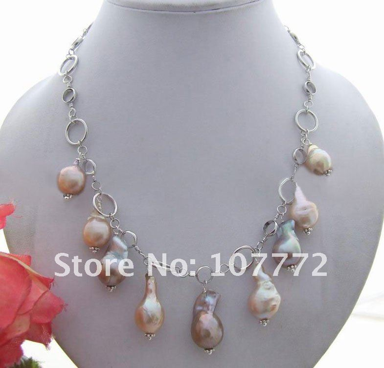 Natural 20mm Nucleated Pear NecklaceNatural 20mm Nucleated Pear Necklace