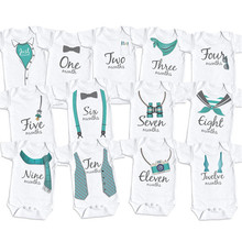 YSCULBUTOL Monthly Bodysuits Month By Month Baby Boy Set Infant Monthly Shirt Grow With Me Bodysuit Baby clothing 0-12M