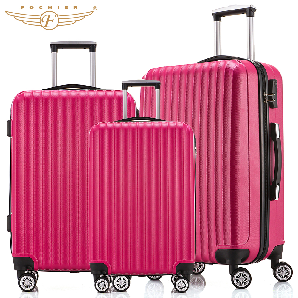 NEW 3 Piece Hardside Travel Luggage Suitcase 20 24 28 Rolling Spinner 4 Wheels 4 Colors ABS Lightweight  Fochier 3 pieces 19inch leopard pattern hardside abs pc suitcase rolling luggage