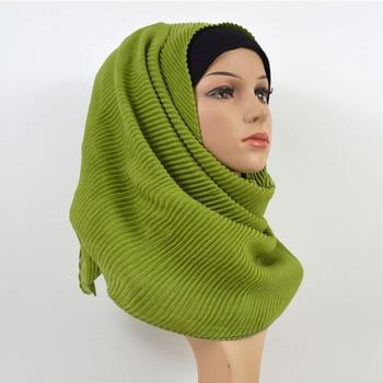 80*180cm Oversize Women Wrinkle Crinkled Long Shawl Cotton Scarf Muslim Hijab Scarf Turban Head Wrap Solid Color Pleated Scarves 80 180cm new muslim women scarf hijab cotton linen shawl stripes islamic head wrap stole scarve long scarf soft headscarf turban