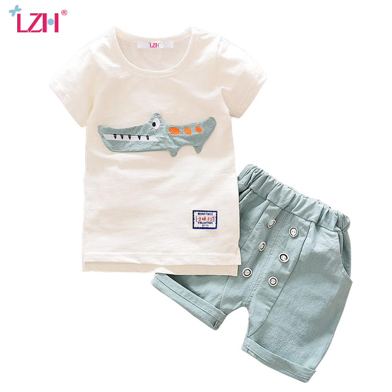 LZH Children Boys Clothes 2018 Summer Baby Boys Clothes T-shirt+Shorts Outfits Kids Tracksuits Sport Suit For Boys Clothing Sets