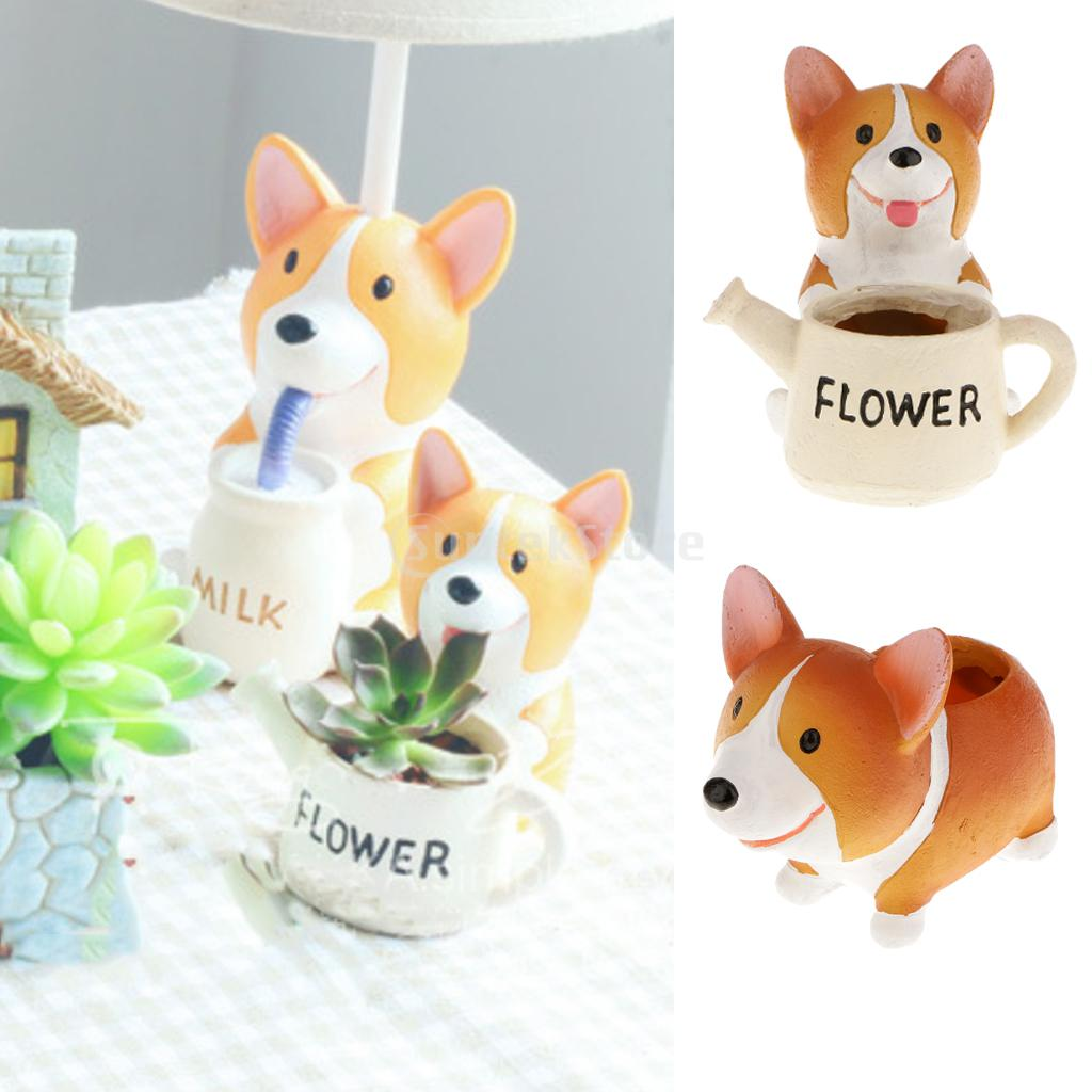 Cute Mini Welsh Corgi Dog Planter Plant Flower Resin Pot