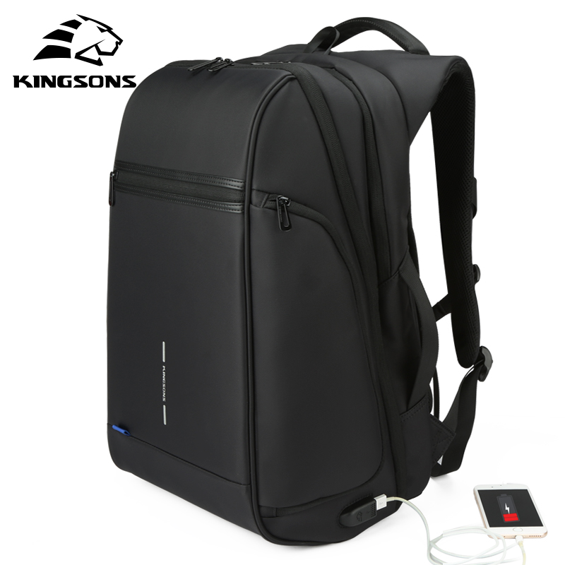 Kingsons Man Backpack Fit 15 17 Inch Laptop USB Recharging Multi-layer Space Travel Male Bag Anti-thief Mochila(China)