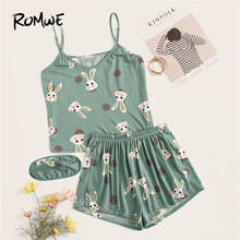 ROMWE Women Cute Rabbit Print Polka Dot Cami PJ Set With Eye Mask Summer Spaghetti Strap Tops And Elastic Waist Shorts Sleepwear купить недорого в Москве