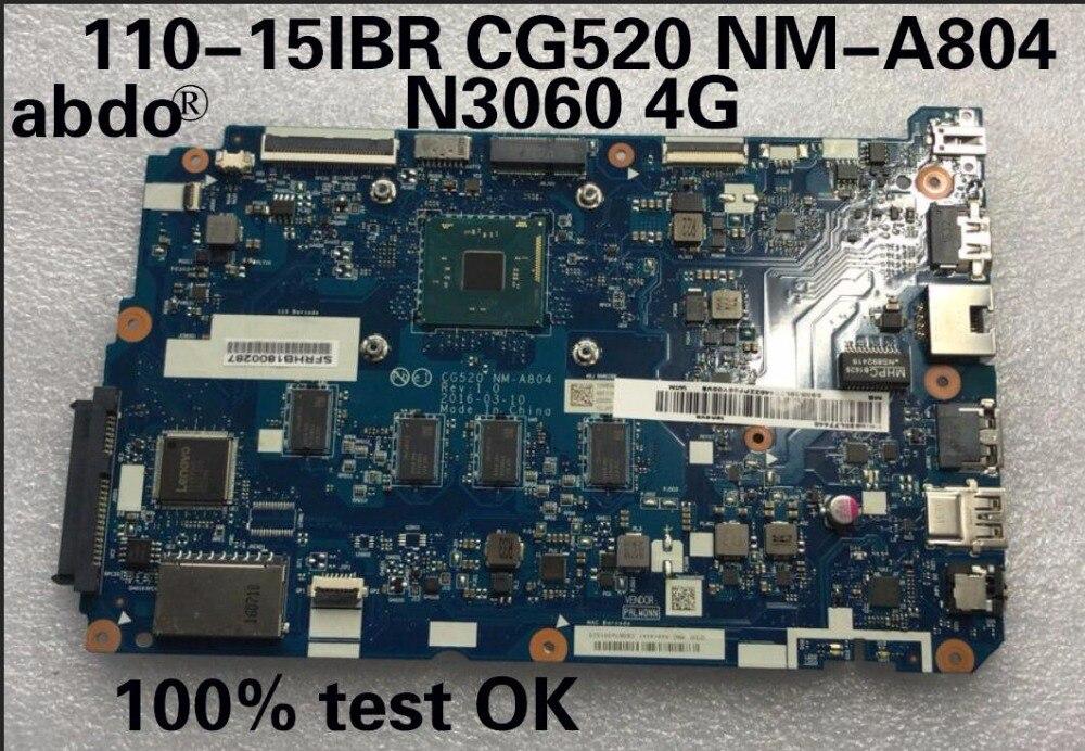 Abdo Lenovo 110-15ibr Cg520 Nm-a804 Laptop Motherboard Cpu N3060 4g 5b20l77440 100% Test