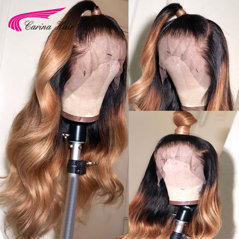 Carina Ombre Human Hair Wig Preplucked Deep Part 13x6 Long Deep Part Lace Front Wig With Baby Hair Brazilian 1b27 Remy Hair