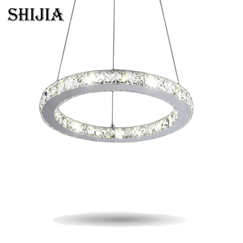 ФОТО Hot Sale Diamond Single Ring LED Crystal Chandelier Light Modern Pendant Lamp Circles 100% Guarantee Dia20cm