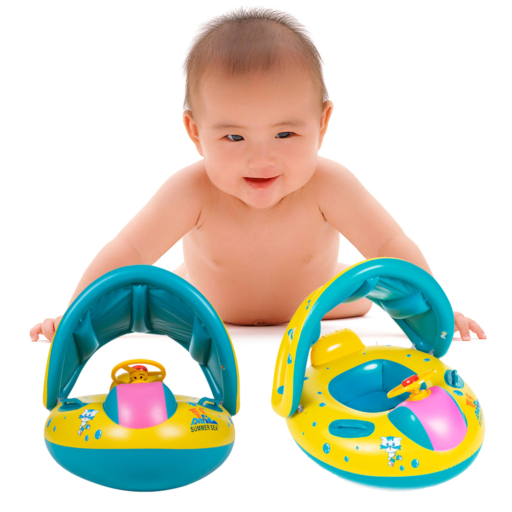 Product details of new inflatable floating swim ring kids children toy -  Portable Kids Children Baby Infant Pvc Float Seat Boat Swim Water Boat Inflatable Adjustable Sunshade Swimming