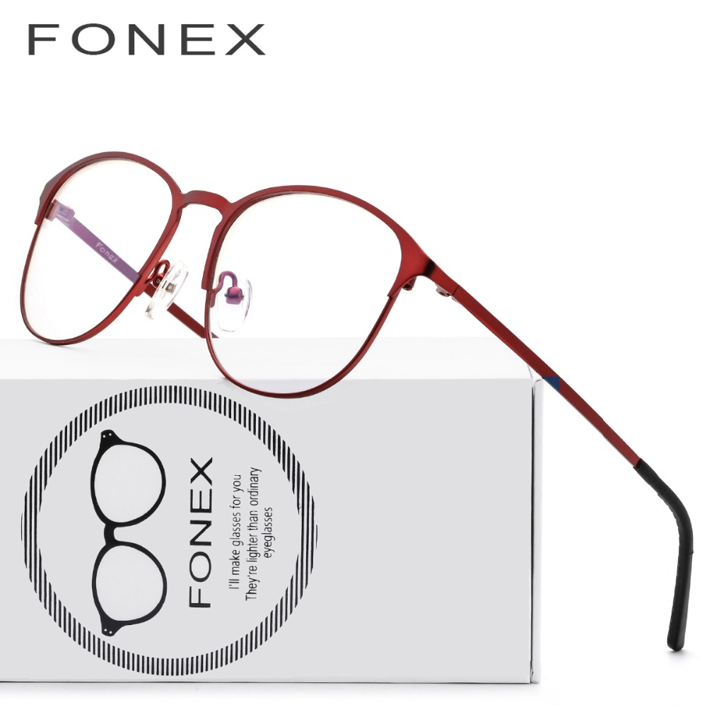4b01fbced632e Titânio Óculos de Armação Mulheres Grife Feminina óculos de sol Do Vintage  Rodada Óculos de grau Completo Vermelho Miopia Armações de Óculos em  Armações de ...