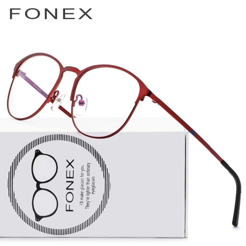 Titanium Glasses Frame Kvinnor Brand Designer Kvinnlig Vintage Round Prescription Eyeglasses Röd Full Myopi Optisk Frames Eyewear