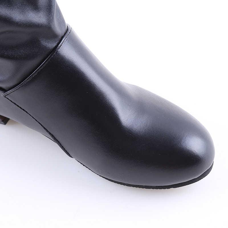 Mode Vrouwen Laarzen Lente Laarzen Botas Vrouwelijke Stretch PU Lederen Laarzen Schoenen Vrouw Zwart Wit Roma Knielaarzen