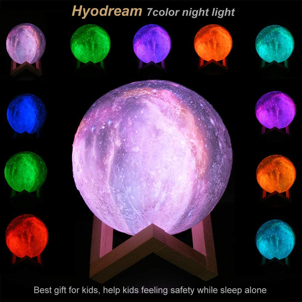 Moon Lights Bedroom: Drop Shipping 3D Print Moon Lamp Rechargeable Colorful