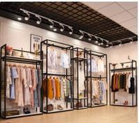 0488d3acb8f10 Giyim mağaza vitrin rafı çift demir katı ahşap kıyafet rafı zemin tipi  erkek ve kadın giyim