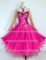 Standard Ballroom Dance Dresses Rose Red Women 2018 New Style High Quality Lady's Waltz Ballroom Competition Dance Dress