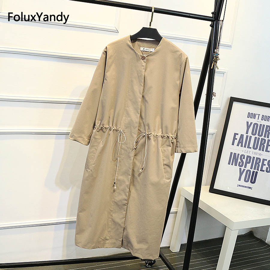 Long   Trench   Coat for Women Plus Size 3 XL Casual Adjustable Waist Loose Covered Button   Trench   Outerwear SWM649