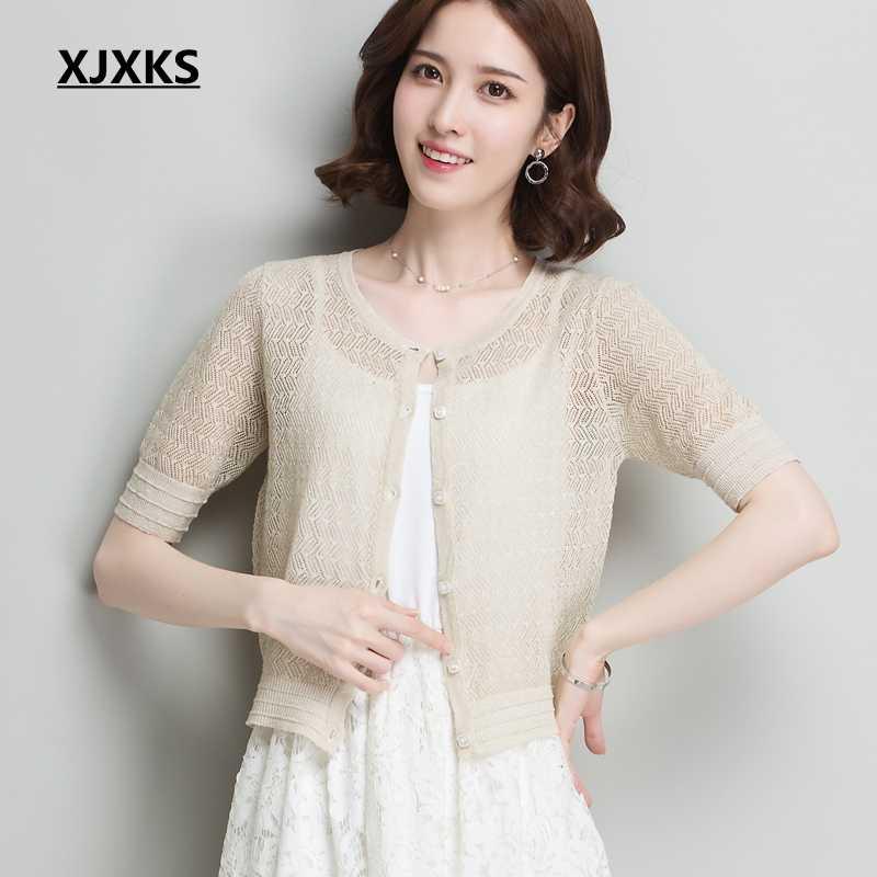 e03e7850654 XJXKS Summer Women Sweater Knitted Casual Short Sleeve Cardigans Sweaters  Knitting Shrugs Shawl Outwear Thin Top