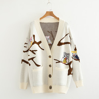 Mori Girl Autumn Women Preppy Large Size Casual Loose Owl Embroidery Long Cardigan Lolita Kawaii Knitted Sweater Female Pull