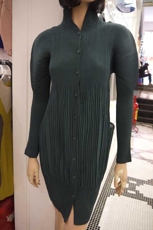 Pli Col orange Nouveau Le Miyake Robes bleu Manchon Gratuite Plissé Livraison Printemps Solide army jaune Stand Fileté Green Noir ETXXwq
