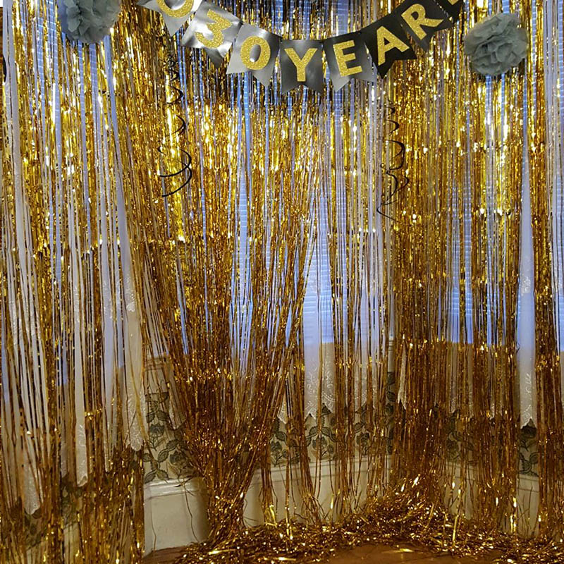 Image 2 - 1M 2M Rose Gold Metallic Foil Tinsel Fringe Curtain Door Rain Wedding Decoration Birthday Party Backdrop Background Photo Props-in Party Backdrops from Home & Garden