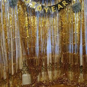 Image 2 - 1M 2M Rose Gold Metallic Foil Tinsel Fringe Curtain Door Rain Wedding Decoration Birthday Party Backdrop Background Photo Props