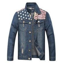 MORUANCLE Fashion Mens Ripped Jeans Jaket Amerika Bendera Dicetak Deim  Trucker Tertekan Jaket Untuk Pria Pakaian Luar Ukuran M-X. 8242d6c2bc