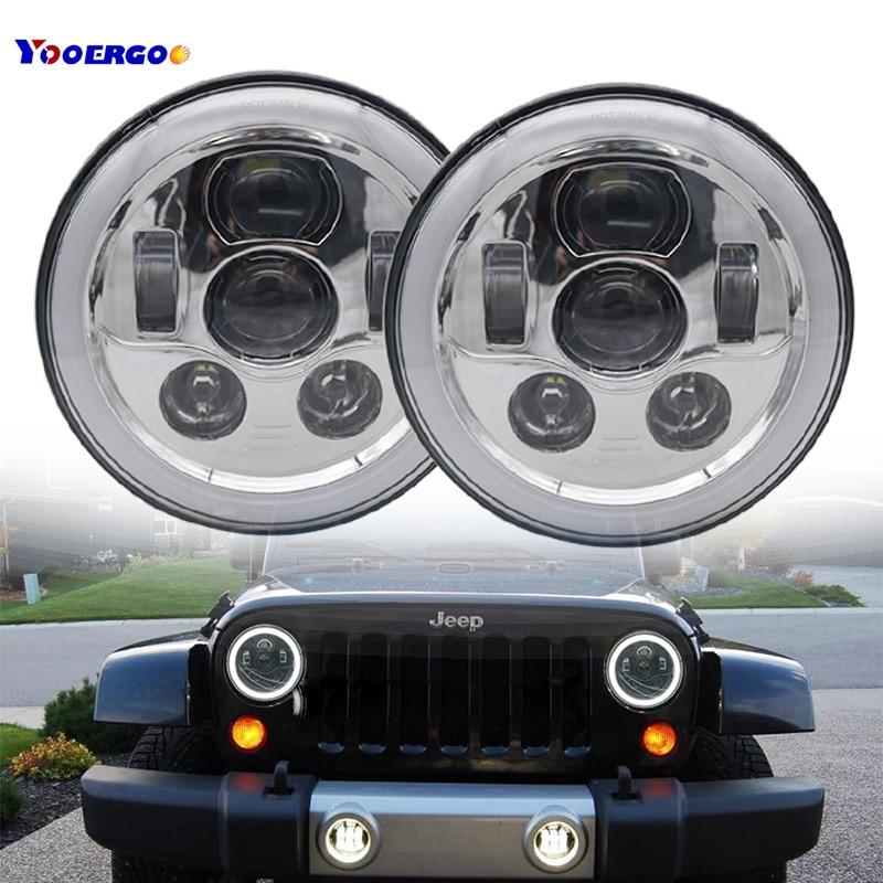 купить For jeep wrangler Lada 4x4 urban Niva NissanV UAZ Hunter Suzuki Samurai 7Inch LED Headlight 45W Daymaker Headlamp (2pcs black ) онлайн