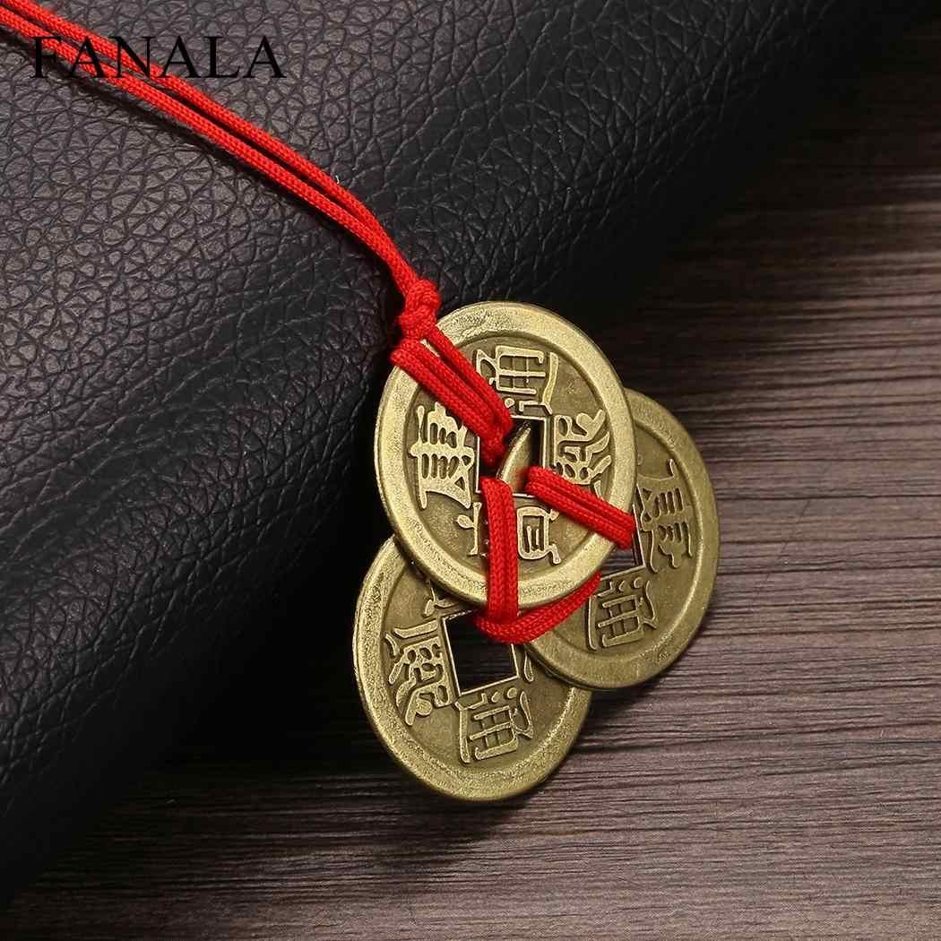 Emperor Amulet bogactwo monety szczęście naszyjniki dla mosiądzu pieniądze kolekcja monet naszyjnik spadek biżuteria Choker Erkek Kolye Ketting