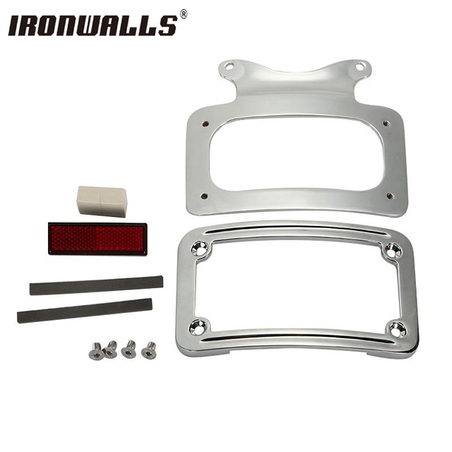 Ironwalls Chrome Motorcycle Laydown License Plate Frame Bracket for ...