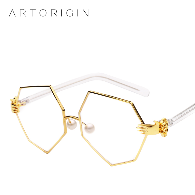 ARTORIGIN New 2017 Unique Sunglasses Women Irregular Tinted Sun Glasses Female Palm Decoration Glasses Frame Lunette Lady Oculos