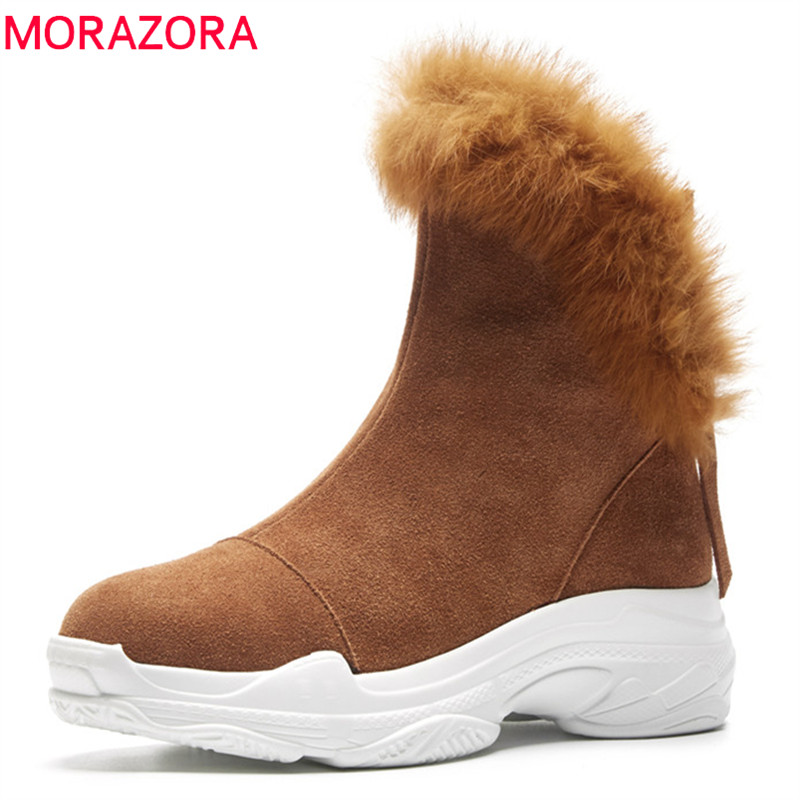 MORAZORA 2018 top quality cow suede leather ankle boots for women round toe comfortable platform shoes zip winter snow boots MORAZORA 2018 top quality cow suede leather ankle boots for women round toe comfortable platform shoes zip winter snow boots